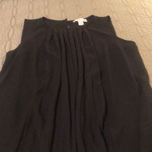Black sheer sleeveless blouse, size 10-12